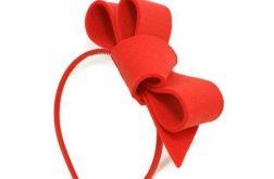 Fascynator czerwień 13cm opaska