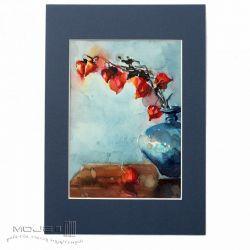 Miechunka w niebieskim wazonie