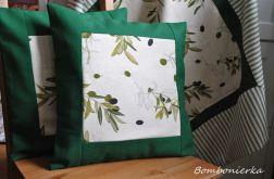 Poszewki - zielone oliwki w ramce  - komplet 2 szt.