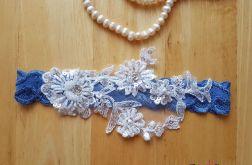 Podwiązka ślubna niebieska