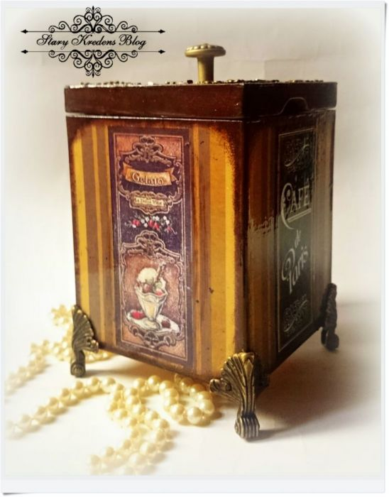 Ozdobne pudełko Cafe de Paris Decoupage