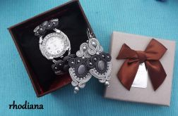 SZARY zegarek Sutasz, kolczyki i pudełko