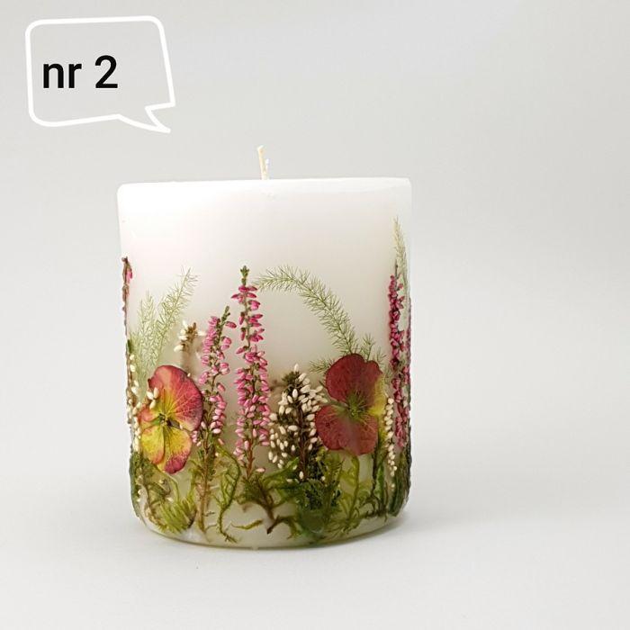 Świeca z naturalnymi kwiatami-hortensja,wrzos