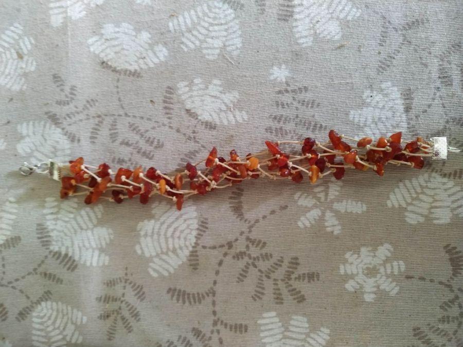 """Bransoletka""""Amber"""" ze sznurka i bursztynu - Długość bransoletki 20 cm"""