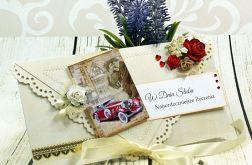 Kartka na ślub -różane retro