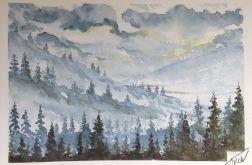 Obraz akwarela polska zima zachód góry art