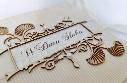 Kartka na ślub w beżach 03, prezent, pamiątka, pudełko