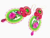 Kolczyki sutasz PEONIA różowe zielone eleganckie
