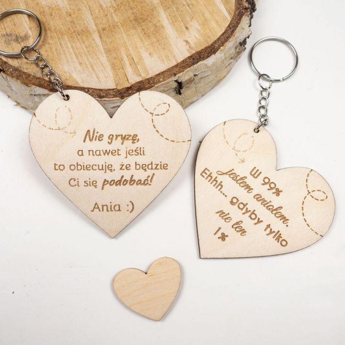 Brelok - serce, walentynki, dzień kobiet - brelok do kluczy, brelok drewniany