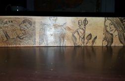 Świecznik drewniany poczwórny z obrazkiem