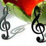 Kolczyki muzyczne, czarne, klucz wiolinowy