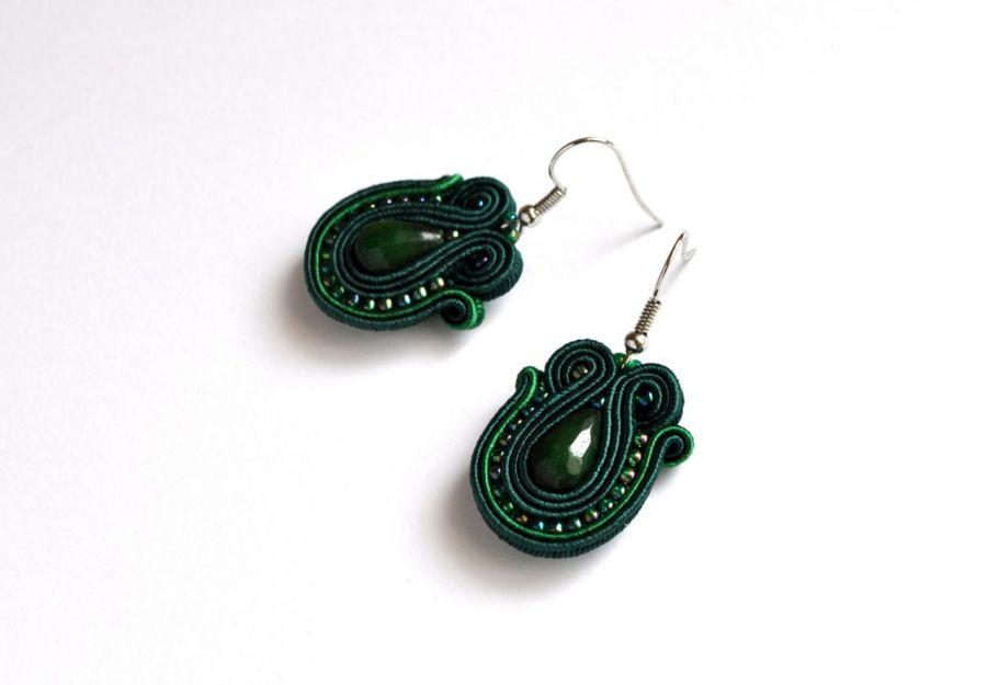 Kolczyki zielone z jadeitem - kolczyki zielone