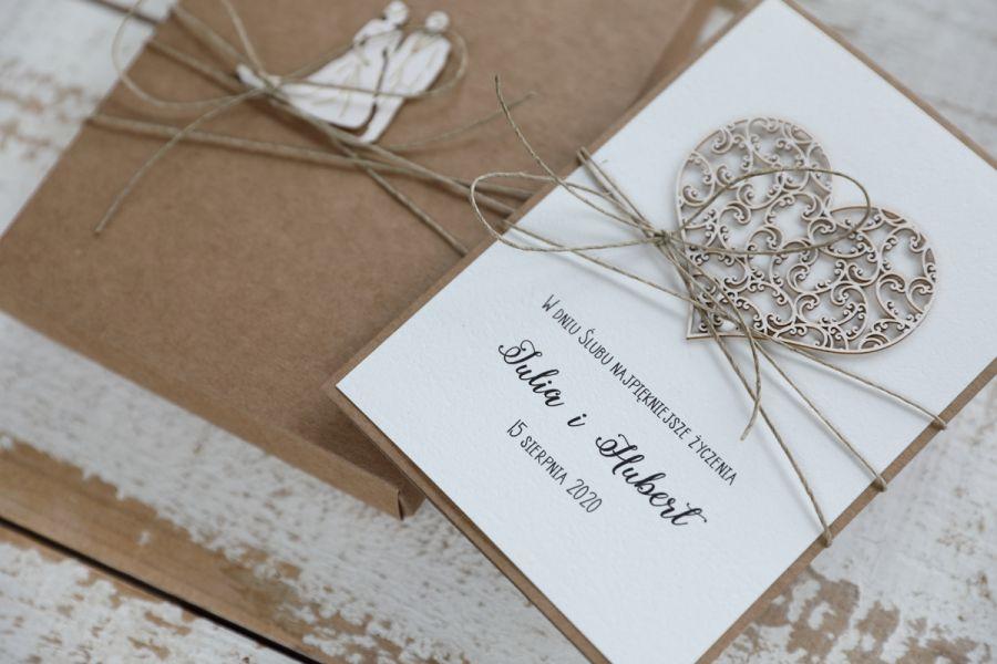 Oryginalna kartka ślubna i pudełko 4p - null
