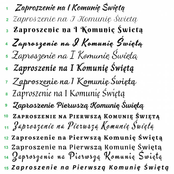 zaproszenia na I Komunię Św. wz5 - Wzory czcionek