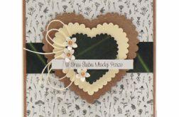 Kartka ślubna serca i kwiatki w stylu boho