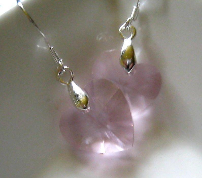 Kryształki szlifowane - urocze serduszka, dwa kolory -