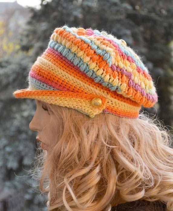 W kolorach tęczy kaszkiet -czapka z daszkiem