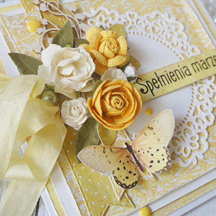 Kartka urodzinowa w pudełku v.3 - kolor żółty3