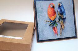 Papużki-kartka ślubna w pudełku