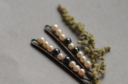 Wsuwki do włosów - perły i hematyt