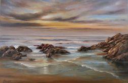 Pejzaż Morski, ręcznie malowany, olej