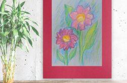 Rysunek z kwiatami na bordowym tle nr 2