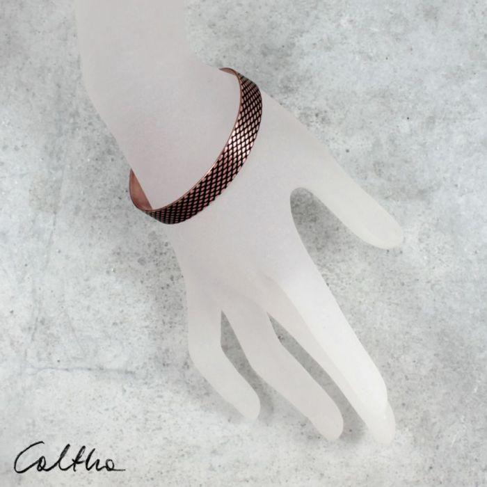 Rybia łuska - miedziana bransoletka 1 cm 210422-01 - Minimalistyczna biżuteria
