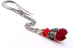 Czerwone krople - srebro i Swarovski - kolczyki