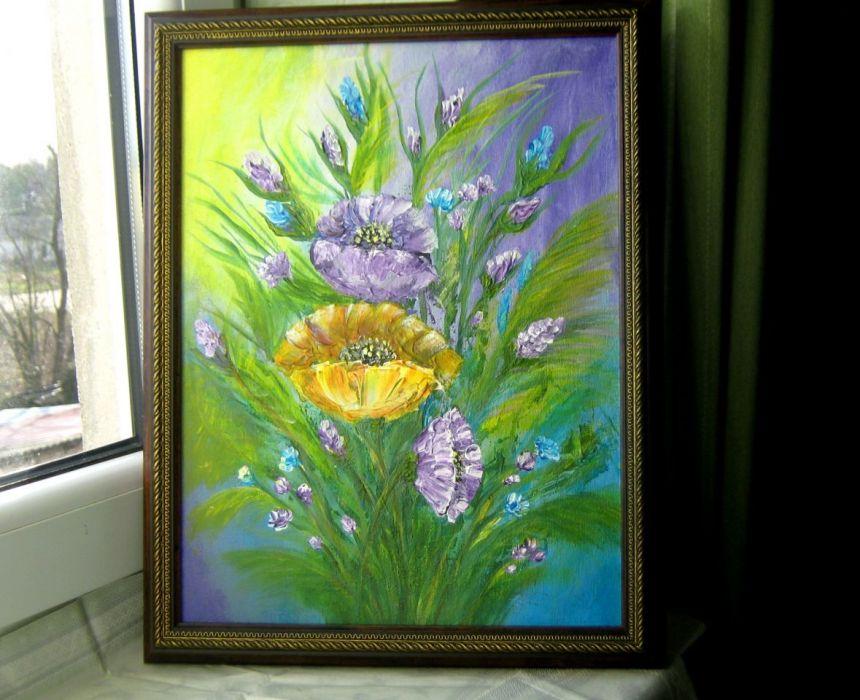 Obraz malowany akrylem -kwiaty fioletowe