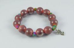 Bransoletka perłowo różowe koraliki