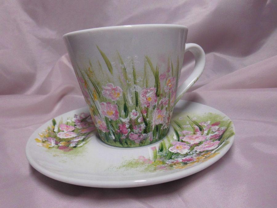 Filiżanka ręcznie malowana różowe kwiatki - filiżanka