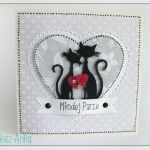 Kartka na ślub z zakochanymi kotkami