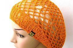 wiosenno-letni ażurowy beret pomarańczowy