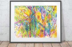 Kolorowy plakat, ogród grafika do pokoju