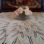 Duży obrus na drutach 150 cm biały - duży obrus