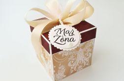 Pudełko na ślub Bordo Koronka