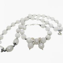 Komplet biżuterii z mistycznego białego jadeitu