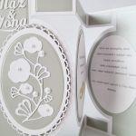 Kartka MĄŻ & ŻONA srebrzysto-biała
