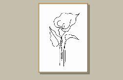 Grafika KALIA, czarno-biały rysunek jedną kreską