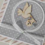 Kartka na Chrzest z gołębiem -