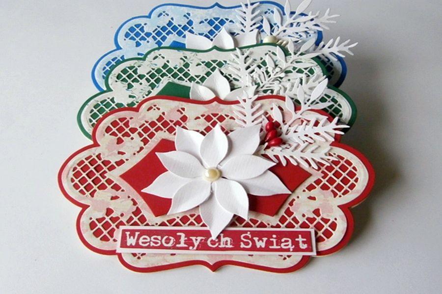 Kartki dwukolorowe Wesołych Świąt