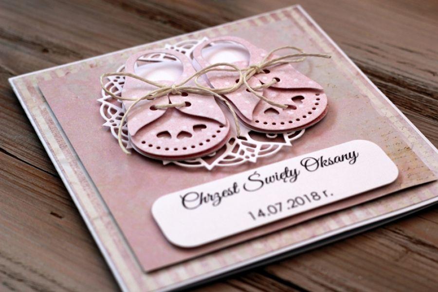 Słodka kartka z bucikami - na chrzest