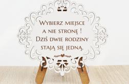 DREWNIANA ażur tablica stojak ślub dekoracja