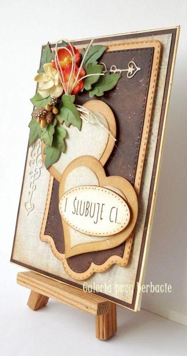 Kartka ślubna brązowa A22