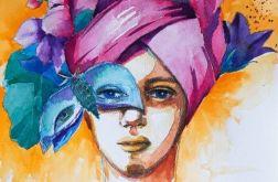 """""""Różowy turban"""" akwarela, portret kobiety"""