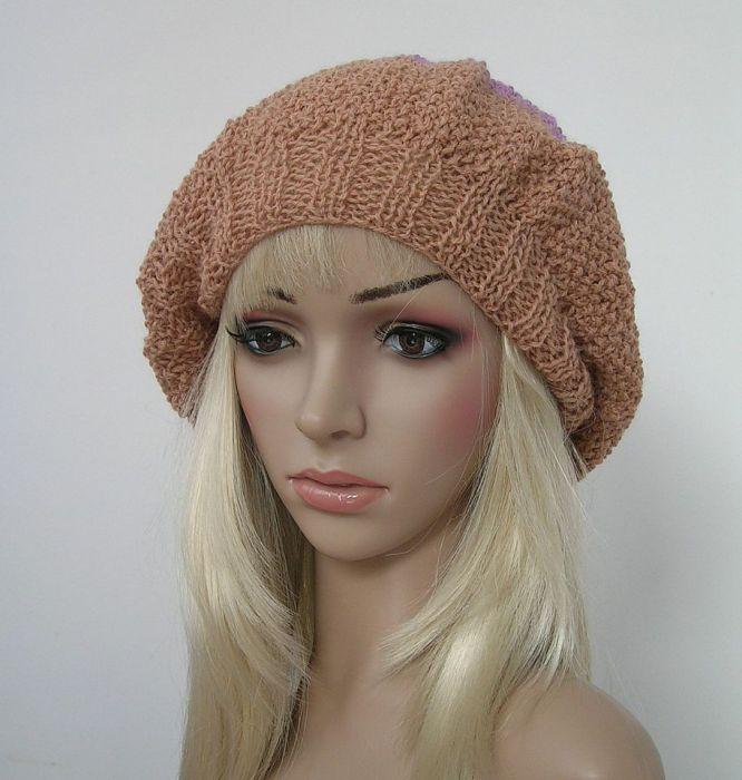 Duża czapka w stylu boho - beż, fiolet, brąz
