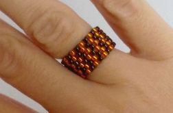 Obrączka koralikowa - oranż z brązem