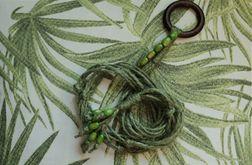 Unikatowy kwietnik makrama zielony juta boho