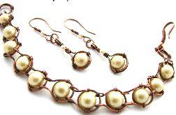 Komplet wire wrap perłowy
