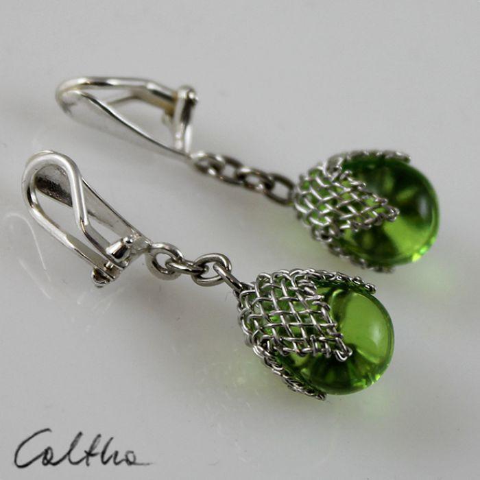 Zielone w siateczce -  klipsy